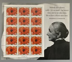 US Scott #3069 32c Georgia O'Keeffe MNH Souvenir Sheet Of 20 Stamps. 1996