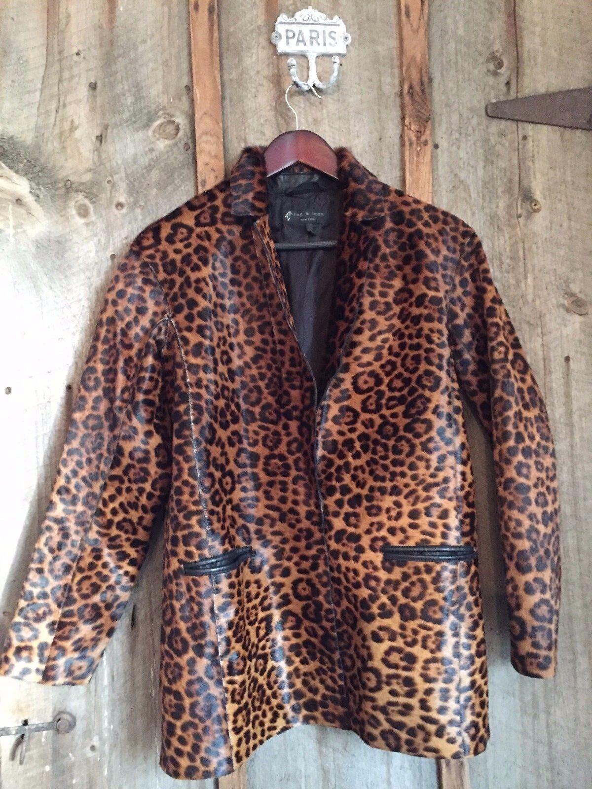 Rag & Bone Sigrid Leopard Haircalf Coat Sz  2200