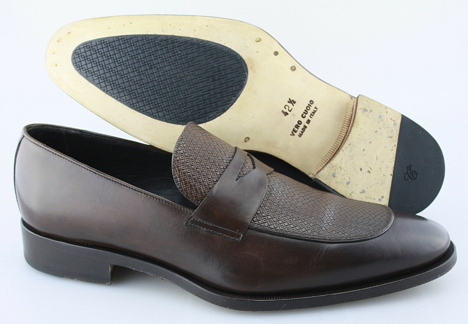 Men's CANALI 'Penny' Dark Brown Leather Loafers Size US 9.5 EUR 42.5