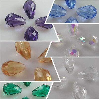 New 20PCS 12x6mm Teardrop Shape Tear Drop Glass Faceted Loose Crystal Beads