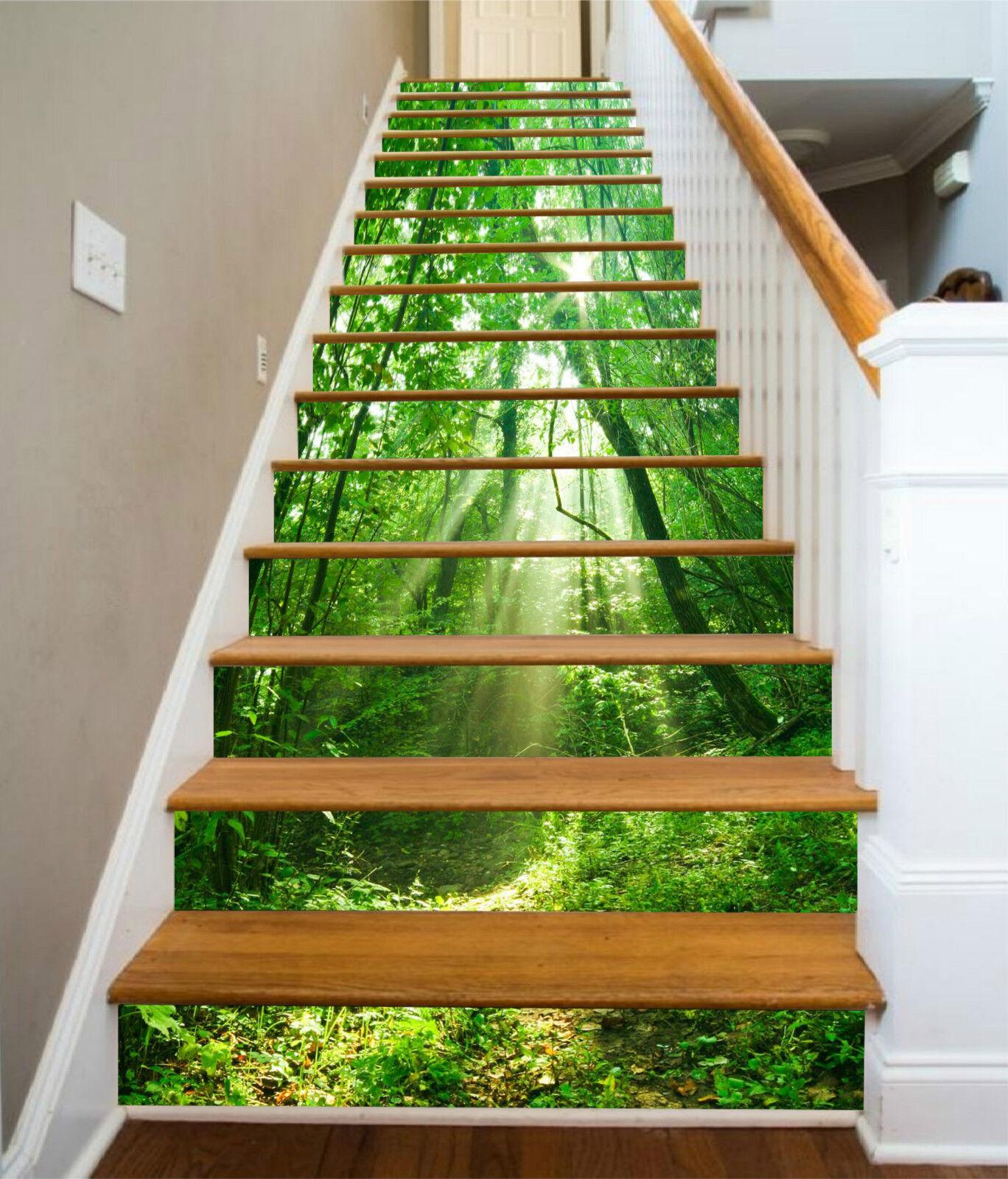 3D Grüner Wald 317 Stair Risers Dekoration Fototapete Vinyl Aufkleber Tapete DE