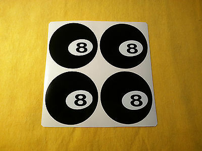 4x 50mm ALLOY WHEEL STICKERS Ball 8 centre cap badge trim