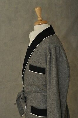 Mens Smoking Jacket – Grey / Black Shawl Wool  ( # OBHA )