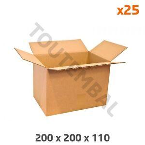 Petit carton d'emballage en cannelure simple 200 x 200 x 110 mm (par 25)