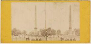 Place-Da-La-Concorde-Parigi-Francia-Foto-Stereo-Th1L6n14-Vintage-Albumina-c1865