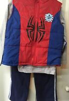 Spiderman Boys Pants Set Vest Jacket Size 3t Fall Winter 3 Piece