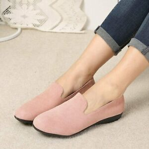 US-Women-Causal-Shoes-Flats-Suede-Slip-on-Loafers-Office-Work-Round-Toe