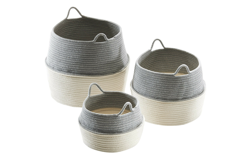 Baumwollkorb Aufbewahrungskorb Baumwolle rund faltbar weiß weiß weiß grau mit Griffen S 3 | Zahlreiche In Vielfalt  fda74f