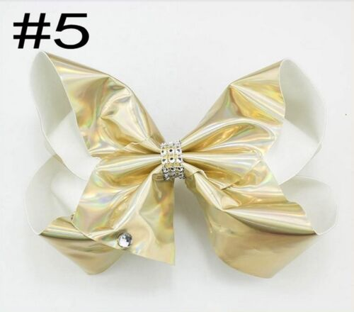 "8/"" Shiny Diamonte Diamond Diamante Metallic Large Hair Bow hair Clip Pin Clips"