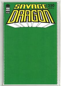 SAVAGE DRAGON #250 SOLD OUT GREEN BLANK VARIANT (COA ONLY 250 MADE) SPINE FLAW