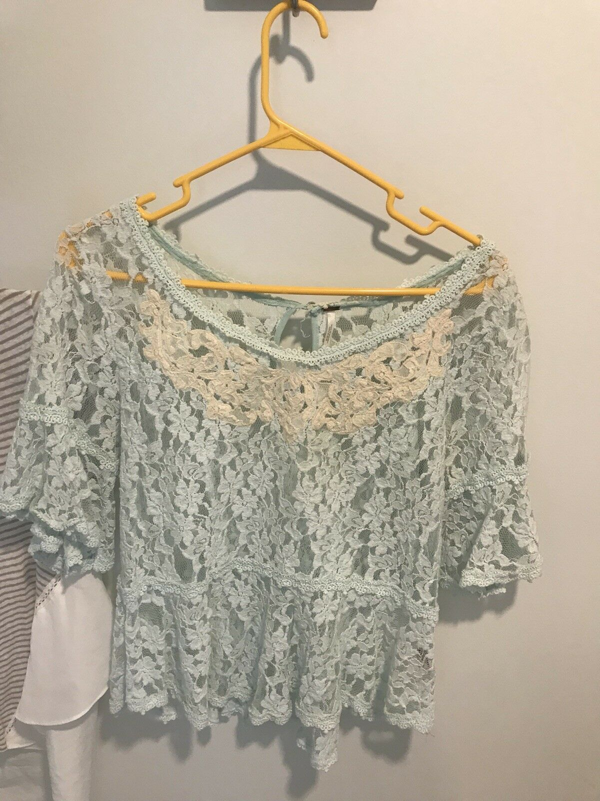 Free People Ivory & bluee Lace Embroidered Top  Bohemian M