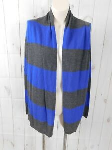 f7080b387ad4 Theory Gray Blue Striped Cashmere Open Front Long Sleeve Duster ...
