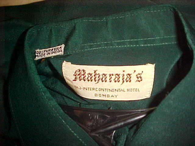 RARA VINTAGE MENS MAHARAJA'S DARK GREEN CREPE SILK SHIRT MADE IN INDIA MEDIUM