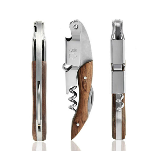 Professional wood Corkscrew Wine Bottle Opener Double Reach Twin Pull New