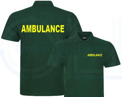 Ambulance printed green polo shirt work wear