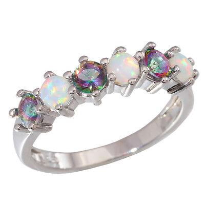 White Fire Opal Rainbow Topaz Women Jewelry Gemstone Silver Ring OJ5509