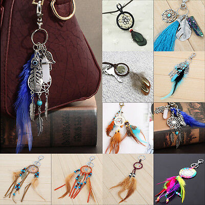 Retro Handmade Dream Catcher Feather Keyring Key Chain Ring Keychain Bag Pendant