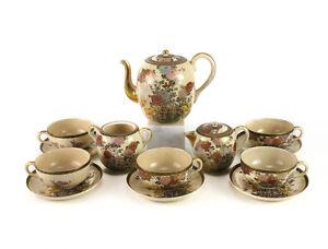 8pc-Japanese-Craquelure-Satsuma-Tea-Set-Service-Hand-painted-Chrysanthemums-Iris