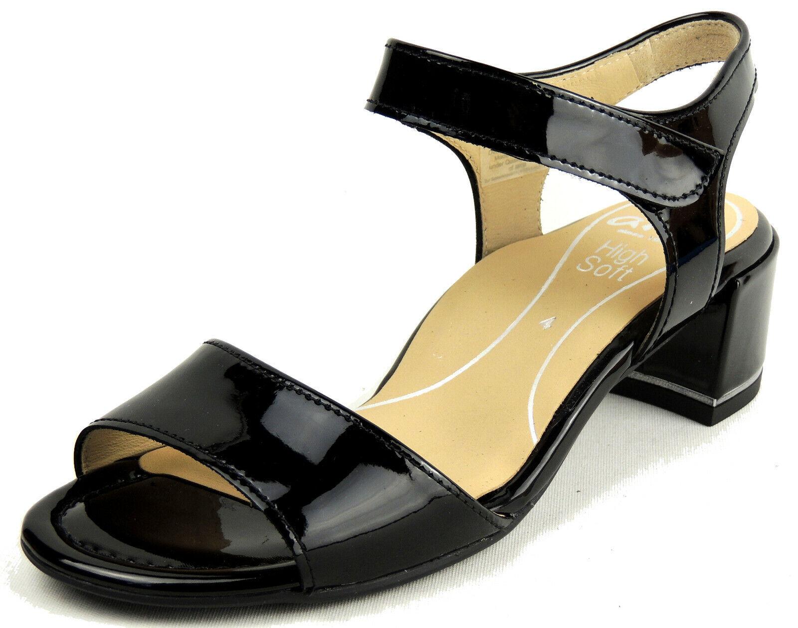 Ara Femmes Sandale Largeur G Semelle Souple Velcro Noir Verni