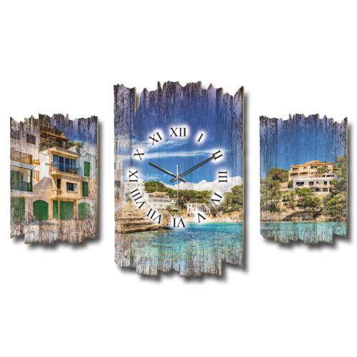Balearen Mallorca Shabby chic Landhaus Dreiteilige Designer Wanduhr leise Funk
