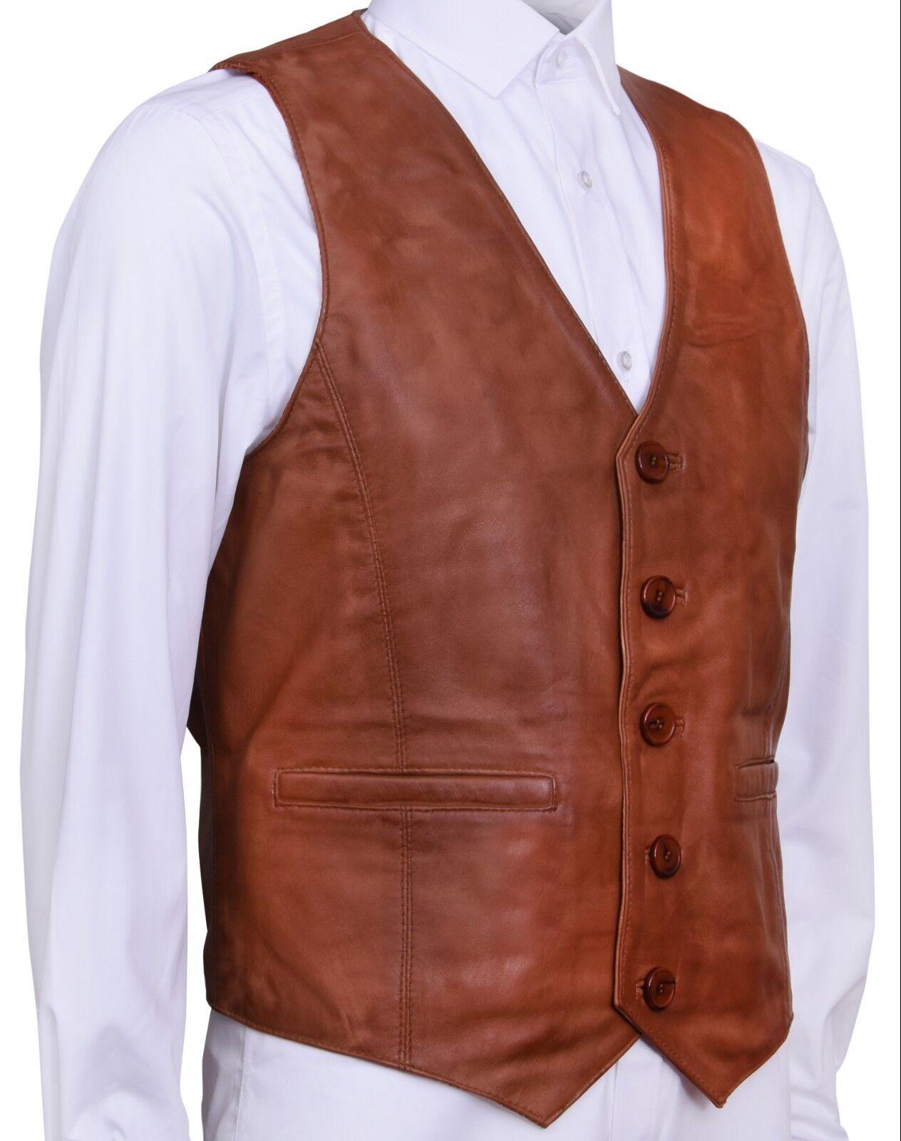 Herren Herren Herren Klassisch Elegant Hellbraun 100% Weiches Leder Weste Weste | Elegante Und Stabile Verpackung  065978