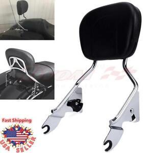 Fit-Harley-Touring-Chrome-Quick-Detachable-Sissy-Bar-w-Passenger-Backrest-Pad