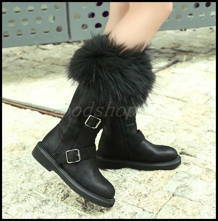 Womens Winter Snow Mid-Calf Boots Fox Fur Trim Thick Fur Lined buckle Flat shoes