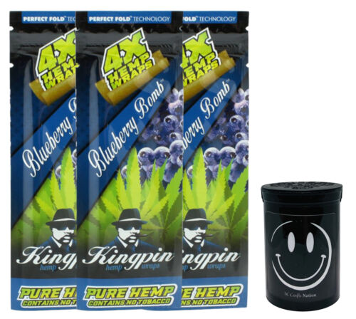 Kingpin Blueberry Hemp Wraps High Hemp Herbal Twisted 3pks /& FRESH Kettle