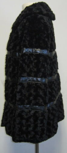 Johnson Black Med S Trim Persian Faux Betsey Pelscoat Læder Sz Ufw77