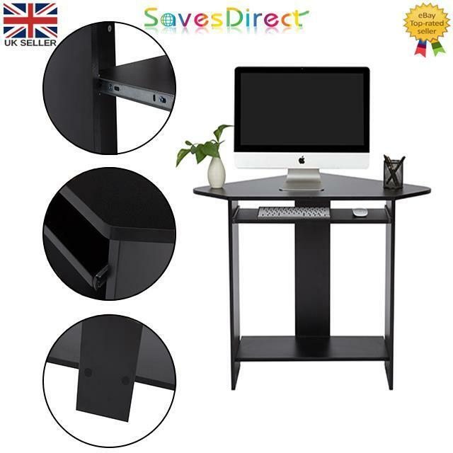 Black Computer Office Desk Small Compact Open Design Keyboard Rail Mdf Melamine Ebay