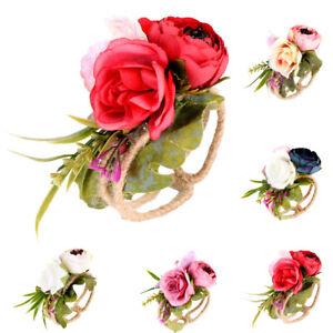 73411f3569 Details about Wrist Corsage Bracelet Bridesmaid Sisters Hand Flowers Rose  Wedding Party Bridal