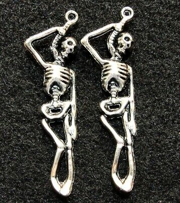10Pcs. Tibetan Silver HALLOWEEN SKELETON Pendants Charms Earring Drops  HW16A