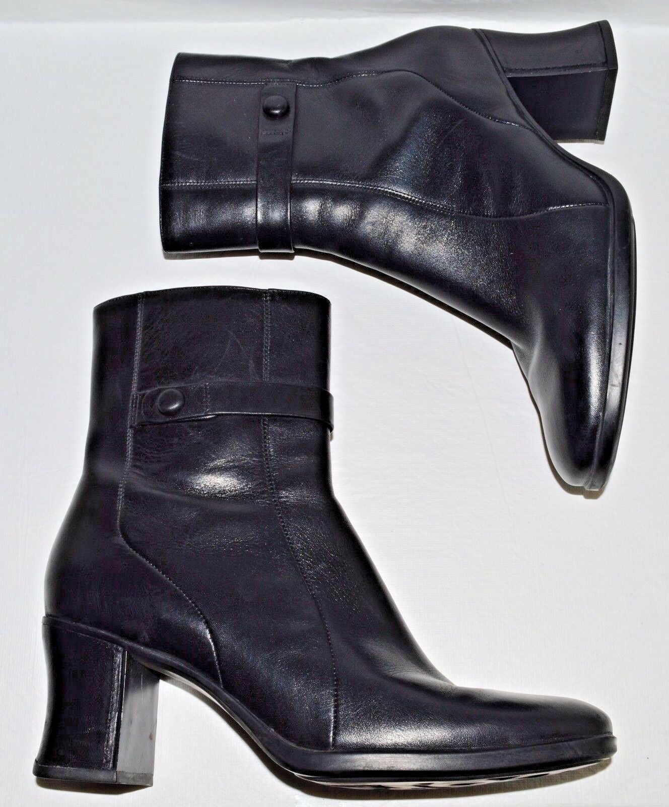 CLARKS SZ 8 M BLACK LEATHER ANKLE BOOTS BOOTIES HEELS EXCELLENT