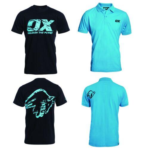 OX Tech Tools Crew T Shirt Black Tech Polo Shirt Blue OX Tools Official Dealer