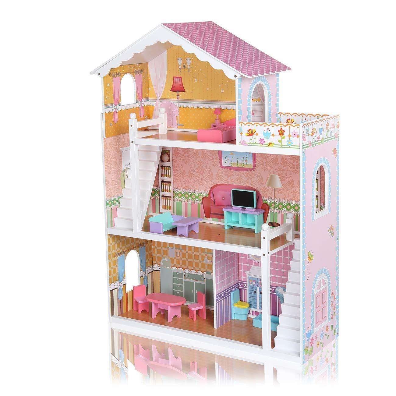 Casa delle Bambole Legno Bambole Tube dollhouse 3 PIANI VIOLETTA BAMBOLE MOBILI NUOVO BABY viv