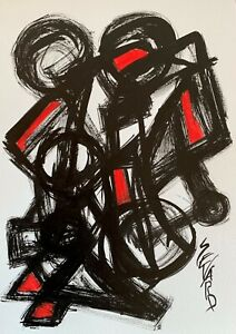 SEVARD Abstrakte Komposition Gemälde Zeichnung A4 Original Signiert Unikat N464
