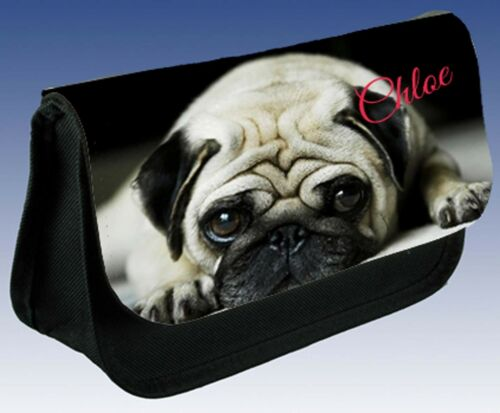 /& other pups CUTE PUG DOG PERSONALISED PUPPY DOG BACK TO SCHOOL PENCIL CASE