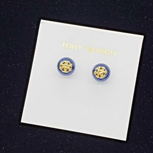 0a26ddf4022 Tory Burch Evie Blue Crystal Pearl Gold Logo Stud Earrings on Card ...