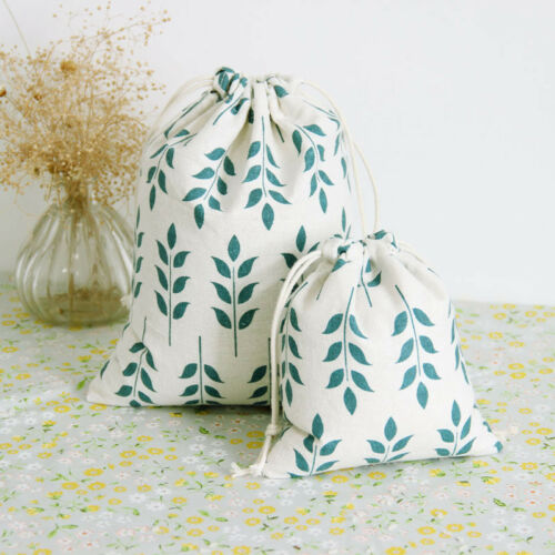 1pc Cotton Line Drawstring Sorted Pouch Party Gift Bag Print Wheat Ears N048 E