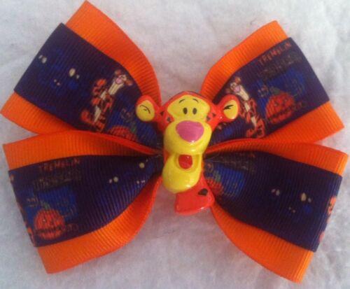 "Girls Hair Bow 4/"" Wide Halloween Orange Purple Tigger Flatback French Barrette"