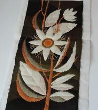 Large vintage Swedish embroidered wool tapestry, stylised sunflower