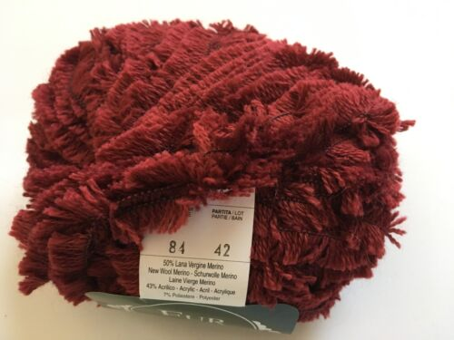 Merino Wool Blend Short Eyelash Yarn 50gr 49yds Mondial Fur #84 Burgundy