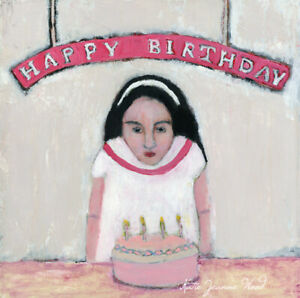 12x12 Print -  Happy Birthday Cake Candles Girl Portrait Katie Jeanne Wood