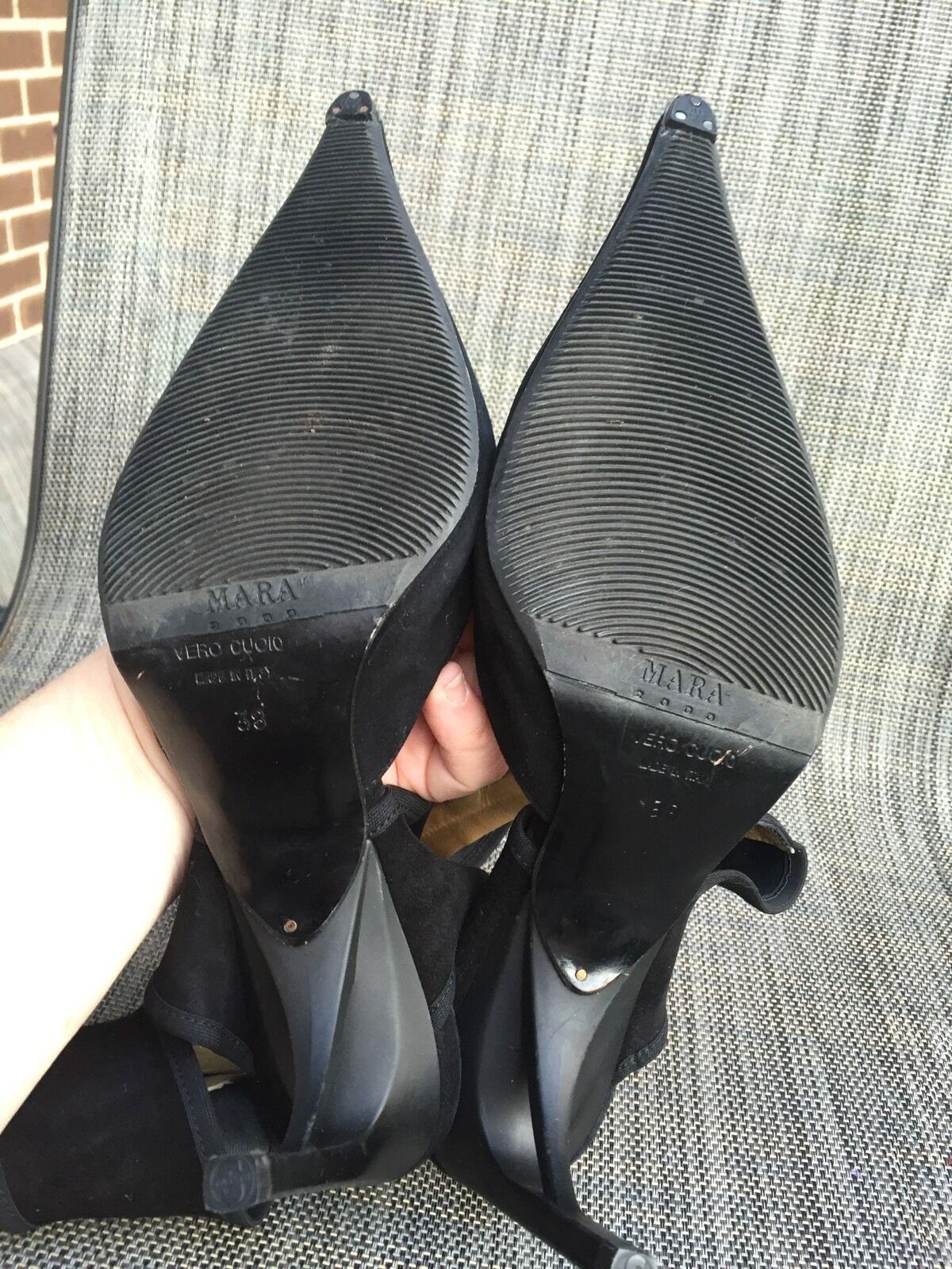 EUC MARA damen schwarz suede suede suede ankle zipped,pumps jeweled,pointed toe schuhe sz.38 85a95b
