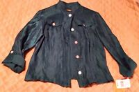 Ruby Road Size 8 Metallic Teal Button Up 3/4 Sleeve Top