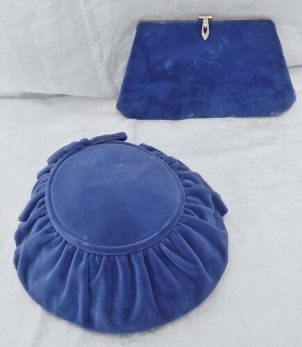 Nice Vintage  Blue Velvet Hat  &  Blue Velvet Purs