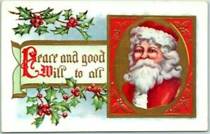 Santa-Claus-with-Holly-Peace-amp-Goodwill-Antique-Christmas-Postcard-s624