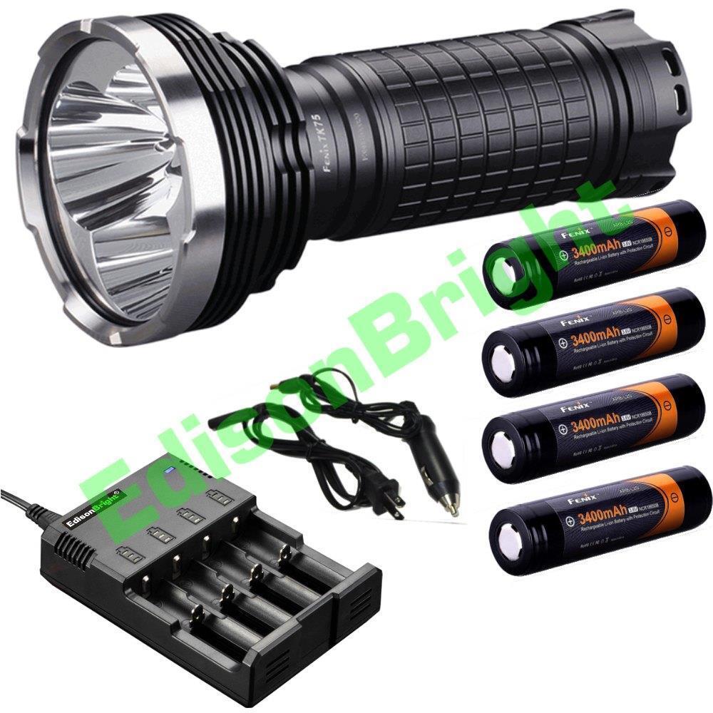 Fenix TK75 2015 CREE LED 4000 lumen lumen lumen flashlight/searchlight w/ 4X 18650 batteries 4a96a3