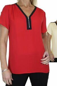 Ladies Georgette Tunic Shirt Top Womens Lightweight Summer Shirt CLEARANCE 8-16
