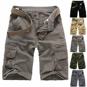 AU-Summer-Mens-Sports-Shorts-Pants-Casual-Cargo-Baggy-Multi-Pocket-Army-Trousers